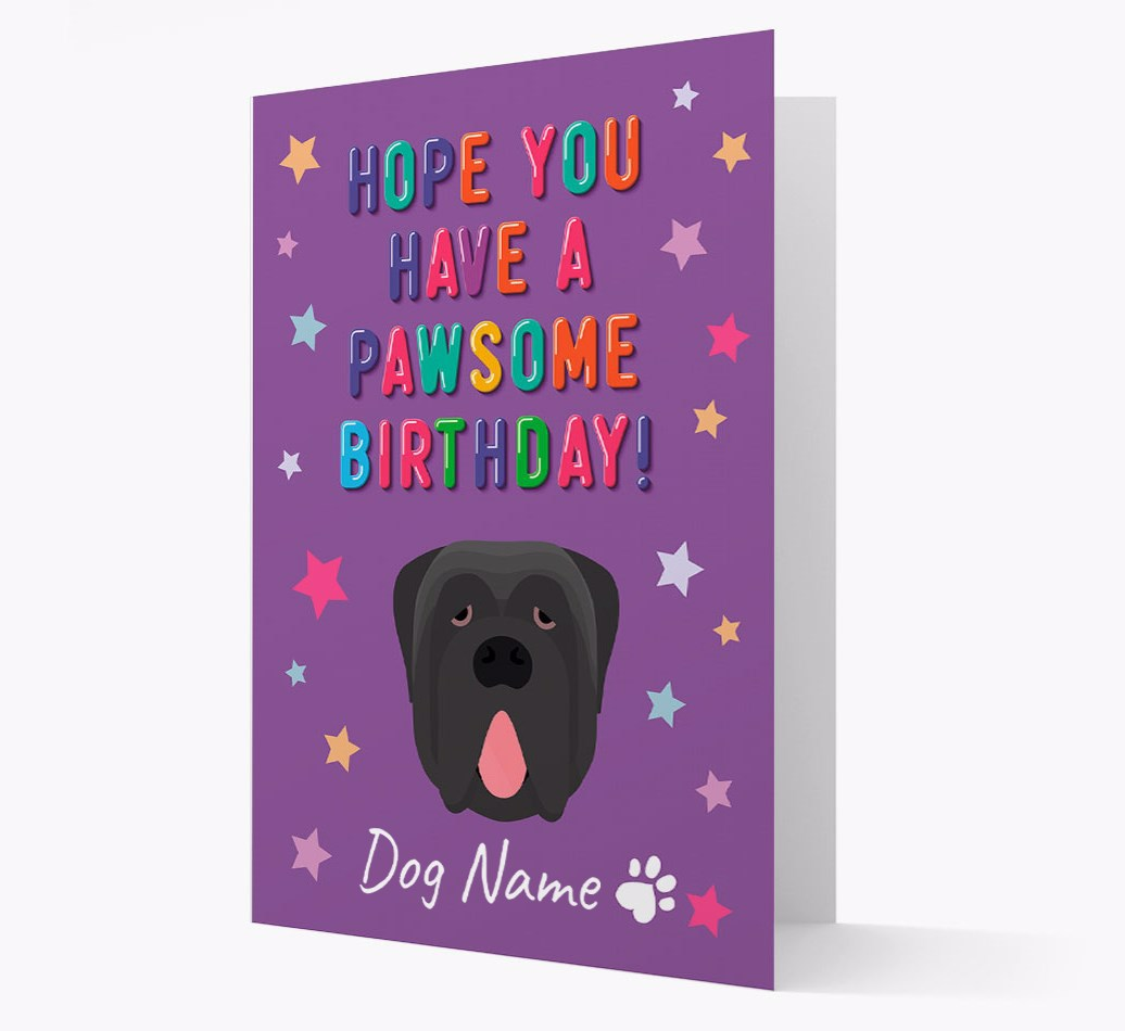 Personalized 'Hope You Have A Pawesome Birthday' Card with Neapolitan Mastiff Icon