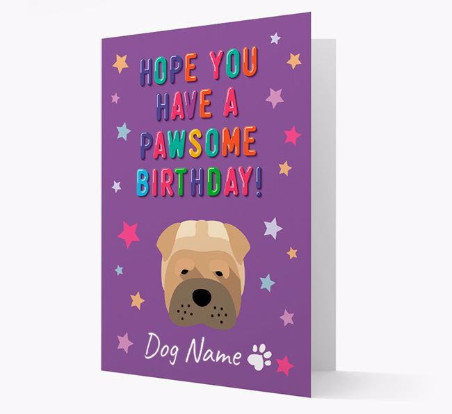 Personalised Card 'Hope You Have A Pawesome Birthday' with Dog Icon