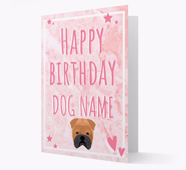 Personalized 'Happy Birthday' Card with Bull Pei Icon