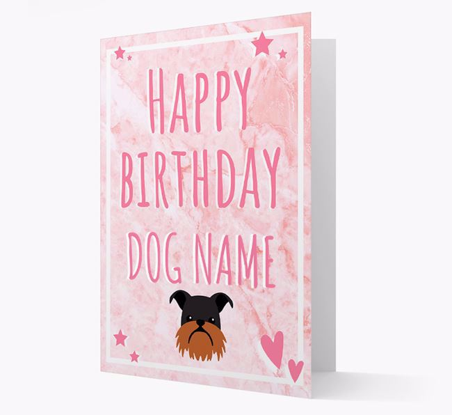 Personalized 'Happy Birthday' Card with Griffon Bruxellois Icon