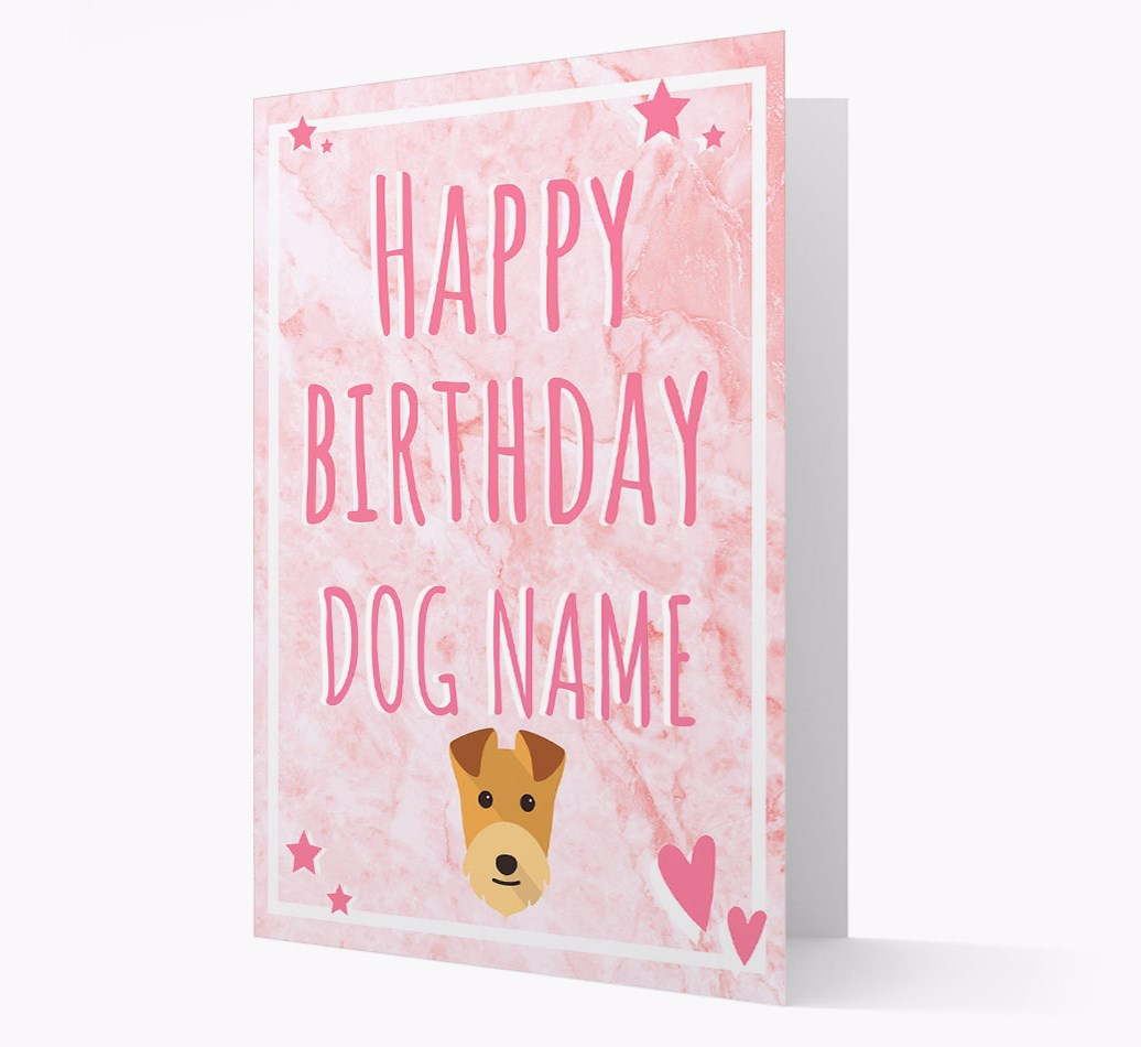 Personalized 'Happy Birthday'Card with Lakeland Terrier Icon