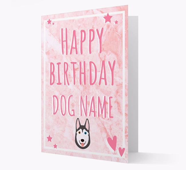 Personalized 'Happy Birthday' Card with Siberian Husky Icon