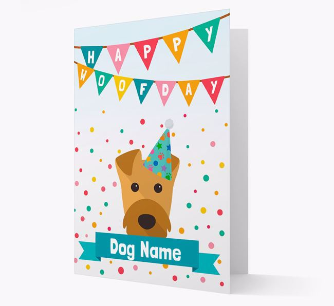 Personalised Card 'Happy Woofday Your Dog' with Airedale Icon
