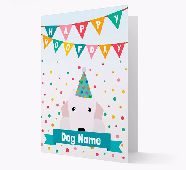Personalised Card 'Happy Woofday Your Dog' with Bedlington Icon