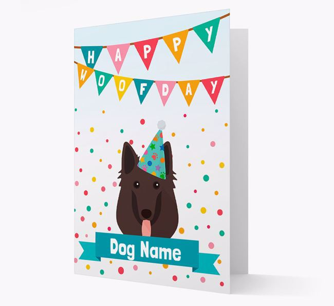 Personalized Card 'Happy Woofday Your Dog' with Belgian Shepherd Icon
