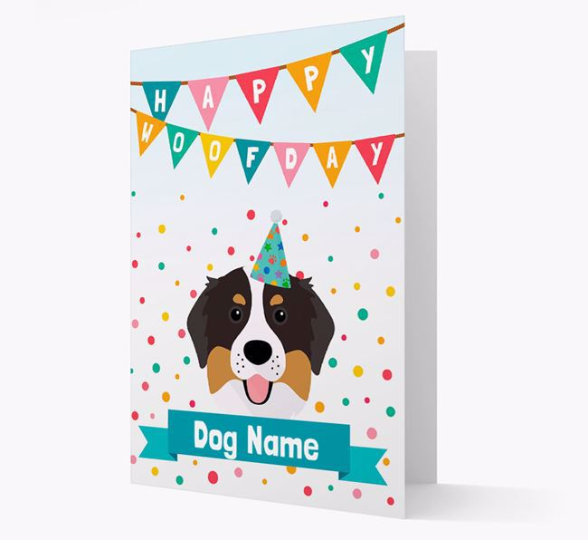 Personalized Card 'Happy Woofday Your Dog' with Bernese Icon