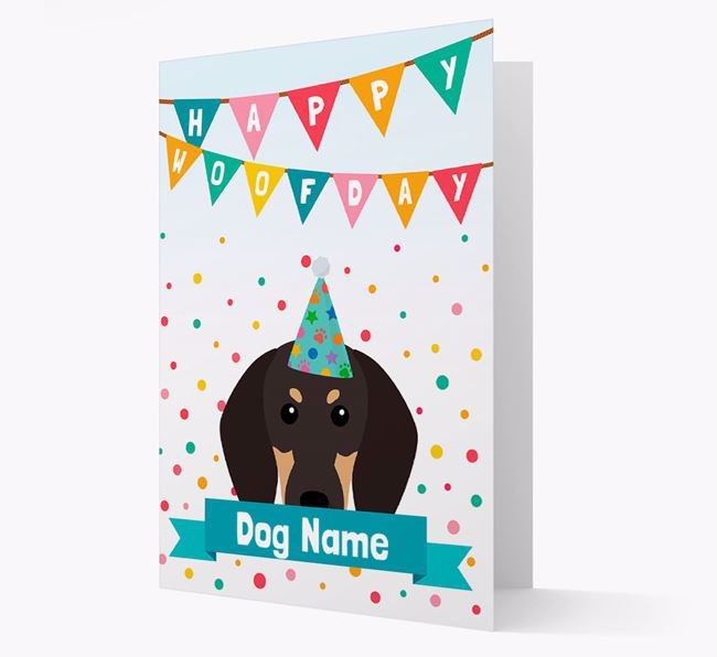Personalised Card 'Happy Woofday Your Dog' with Coonhound Icon