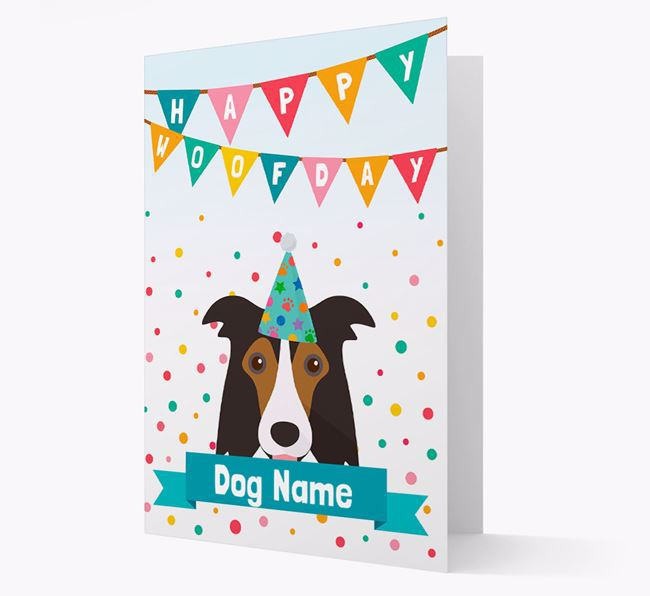 Personalised Card 'Happy Woofday Your Dog' with Border Collie Icon