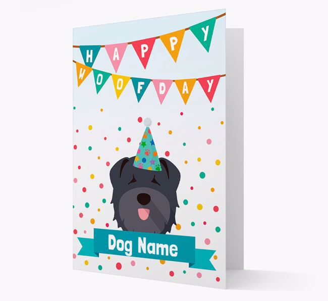 Personalised Card 'Happy Woofday Your Dog' with Bouvier Des Flandres Icon