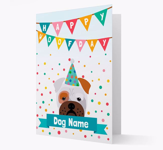 Personalized Card 'Happy Woofday Your Dog' with Bull Pei Icon