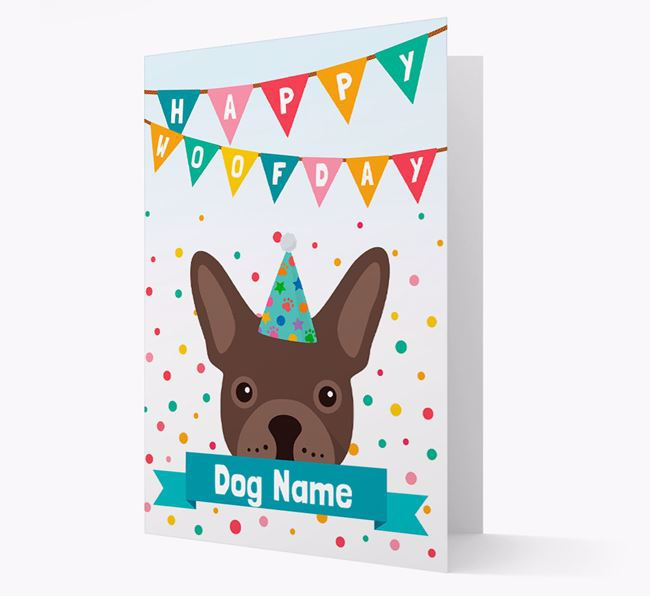 Personalised Card 'Happy Woofday Your Dog' with Frenchie Icon