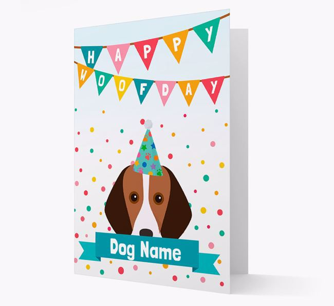 Personalized Card 'Happy Woofday Your Dog' with Harrier Icon
