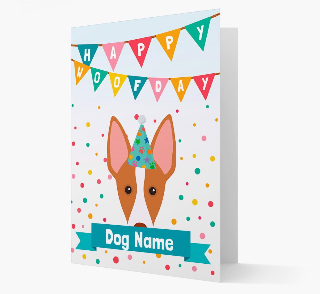 Personalized Card 'Happy Woofday {dogsName}' with Ibizan Hound Icon