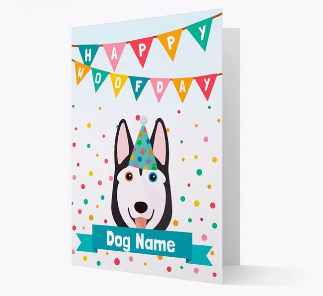 Personalized Card 'Happy Woofday Your Dog' with Husky Icon