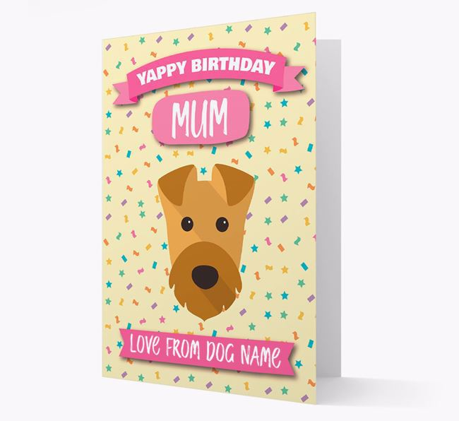 Personalised Card 'Yappy Birthday Mum' with Airedale Icon