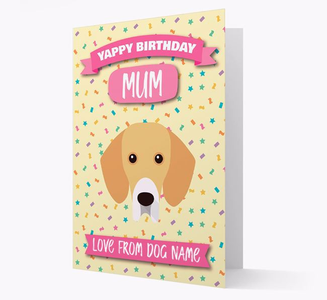 Personalised Card 'Yappy Birthday Mum' with Bassador Icon