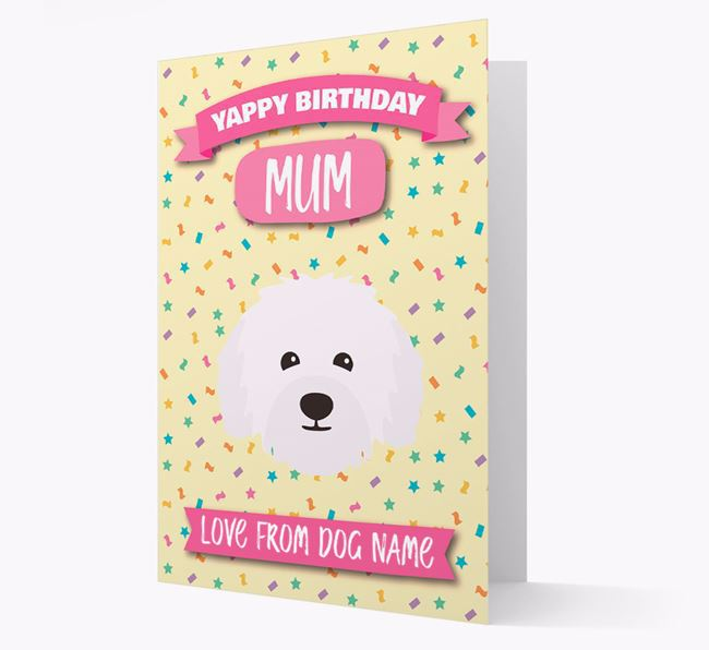 Personalised Card 'Yappy Birthday Mum' with Bolognese Icon