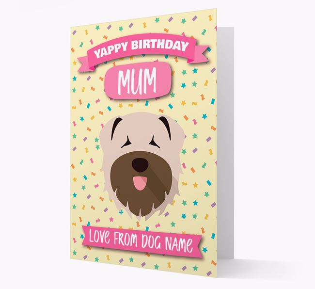 Personalised Card 'Yappy Birthday Mum' with Bouvier Des Flandres Icon