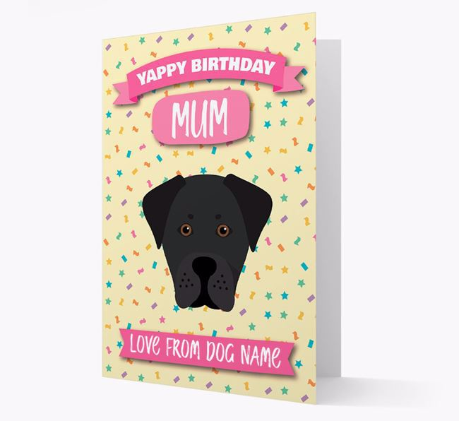 Personalised Card 'Yappy Birthday Mum' with Boxador Icon