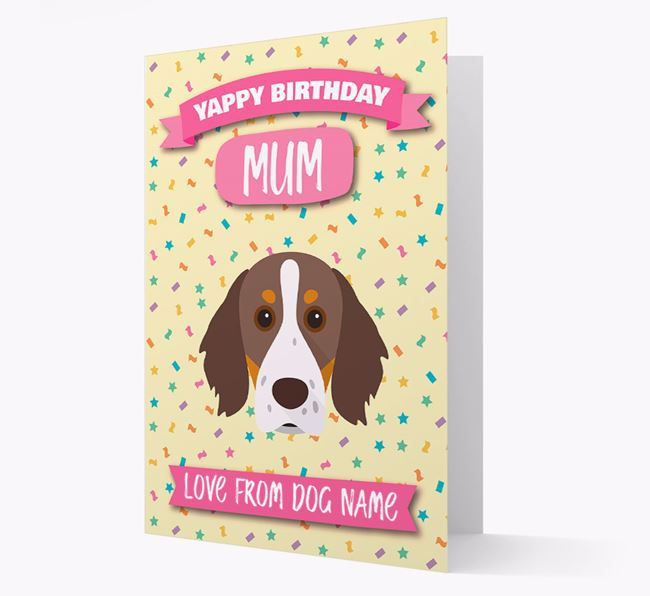 Personalised Card 'Yappy Birthday Mum' with Brittany Spaniel Icon