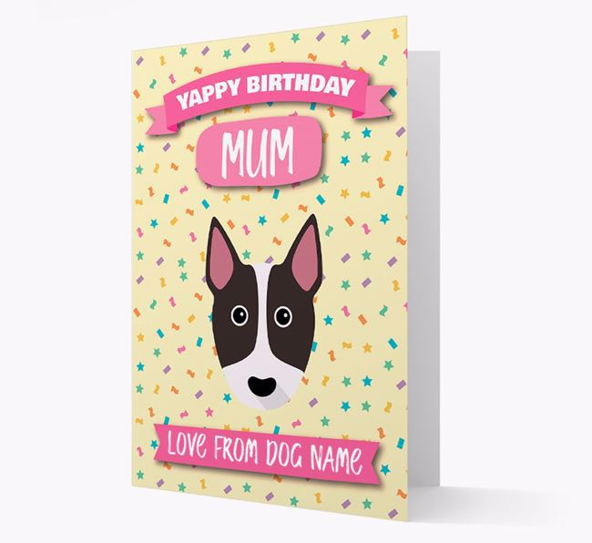 Personalised Card 'Yappy Birthday Mum' with Bull Terrier Icon