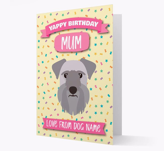 Personalised Card 'Yappy Birthday Mum' with Cesky Terrier Icon