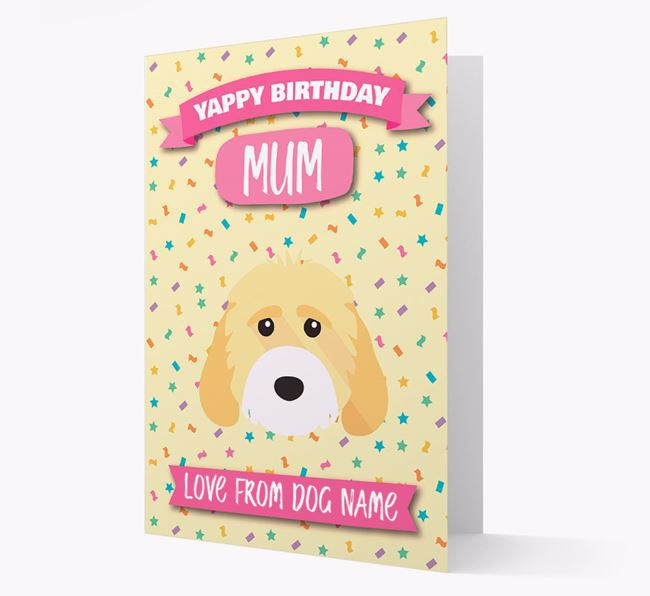 Personalised Card 'Yappy Birthday Mum' with Cockapoo Icon