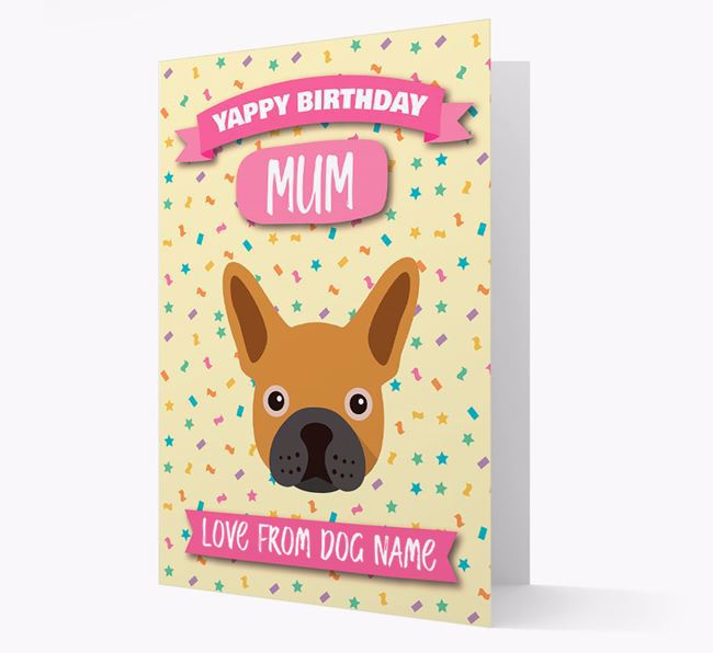 Personalised Card 'Yappy Birthday Mum' with Frenchie Icon