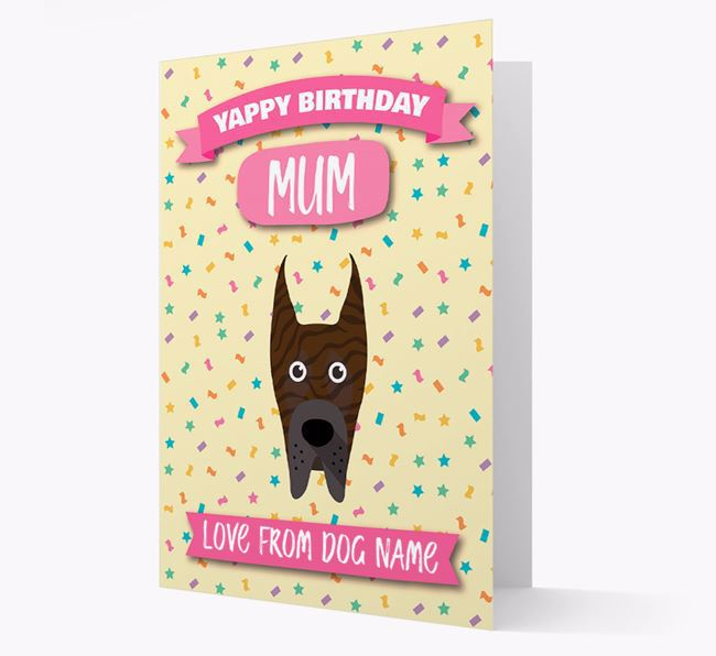 Personalised Card 'Yappy Birthday Mum' with Great Dane Icon