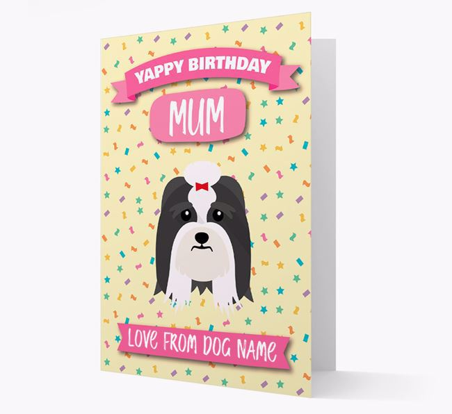 Personalised Card 'Yappy Birthday Mum' with Lhasa Apso Icon