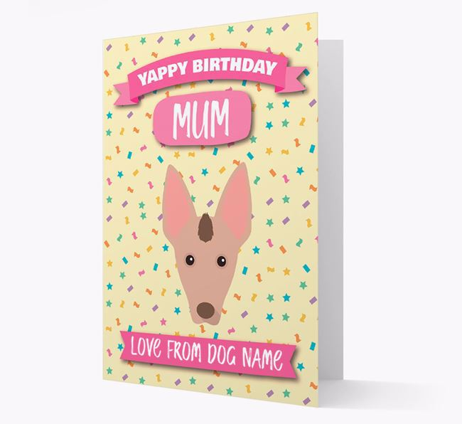 Personalised Card 'Yappy Birthday Mum' with Mexican Hairless Icon
