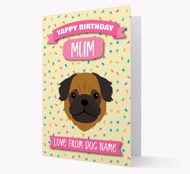 Personalised Card 'Yappy Birthday Mum' with Pug Icon