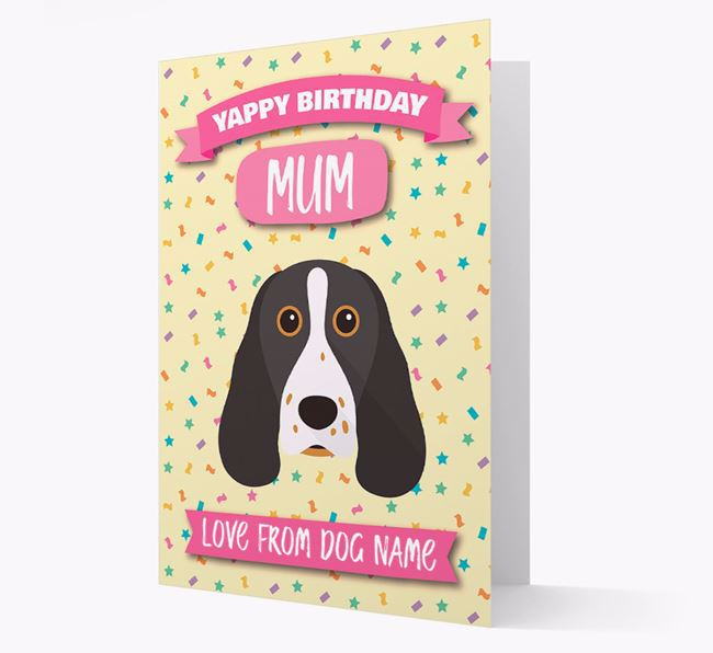 Personalised Card 'Yappy Birthday Mum' with Springer Spaniel Icon