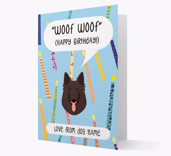 Personalized 'Woof Woof' Birthday Card with Belgian Groenendael Icon