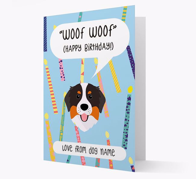 Personalized 'Woof Woof' Birthday Card with Bernese Mountain Dog Icon