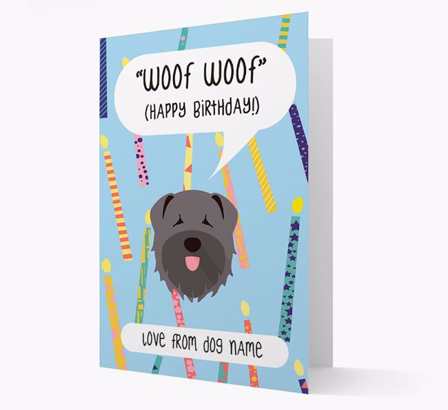 Personalised 'Woof Woof' Birthday Card with Bouvier Des Flandres Icon