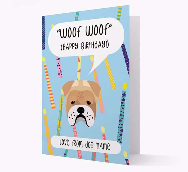 Personalized 'Woof Woof' Birthday Card with Bull Pei Icon