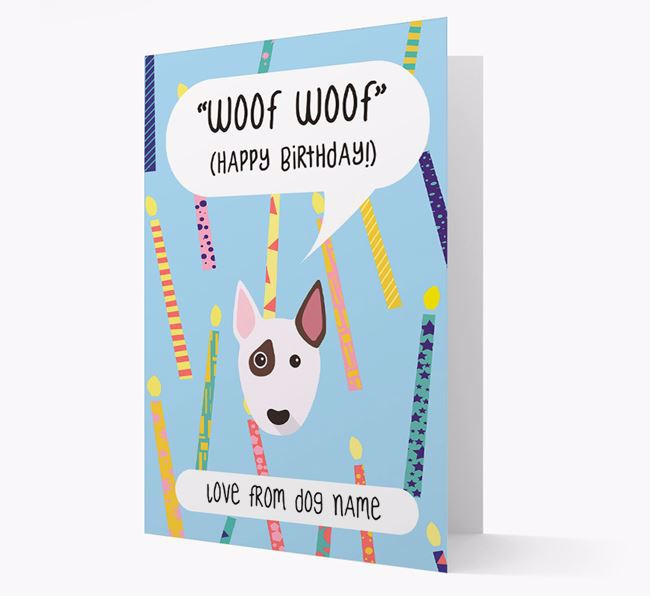 Personalised 'Woof Woof' Birthday Card with Bull Terrier Icon