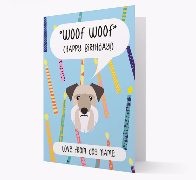 Personalised 'Woof Woof' Birthday Card with Cesky Terrier Icon