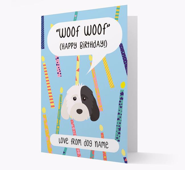 Personalised 'Woof Woof' Birthday Card with Cockapoo Icon