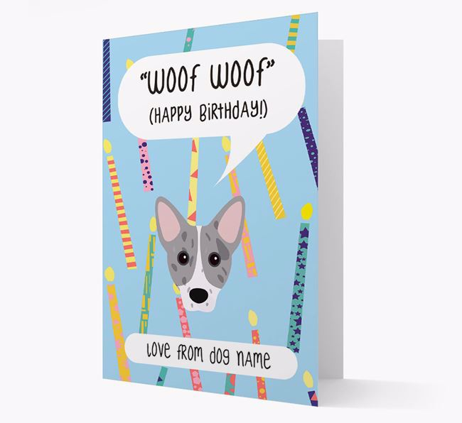 Personalised 'Woof Woof' Birthday Card with Cojack Icon