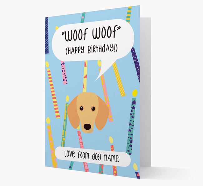 Personalised 'Woof Woof' Birthday Card with Dachshund Icon