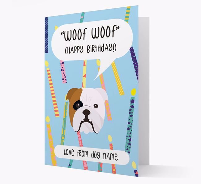Personalised 'Woof Woof' Birthday Card with English Bulldog Icon