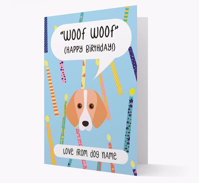 Personalised 'Woof Woof' Birthday Card with Foxhound Icon