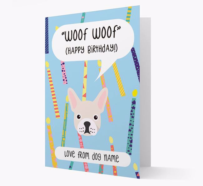 Personalised 'Woof Woof' Birthday Card with French Bulldog Icon