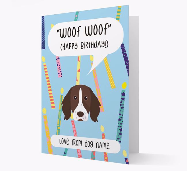 Personalized 'Woof Woof' Birthday Card with German Longhaired Pointer Icon
