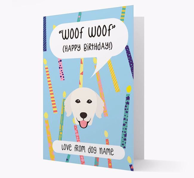 Personalised 'Woof Woof' Birthday Card with Golden Retriever Icon