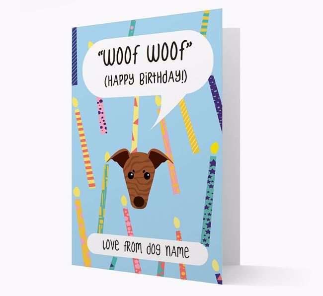 Personalised 'Woof Woof' Birthday Card with Greyhound Icon
