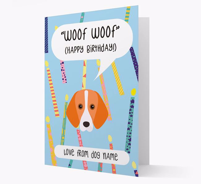 Personalized 'Woof Woof' Birthday Card with Harrier Icon