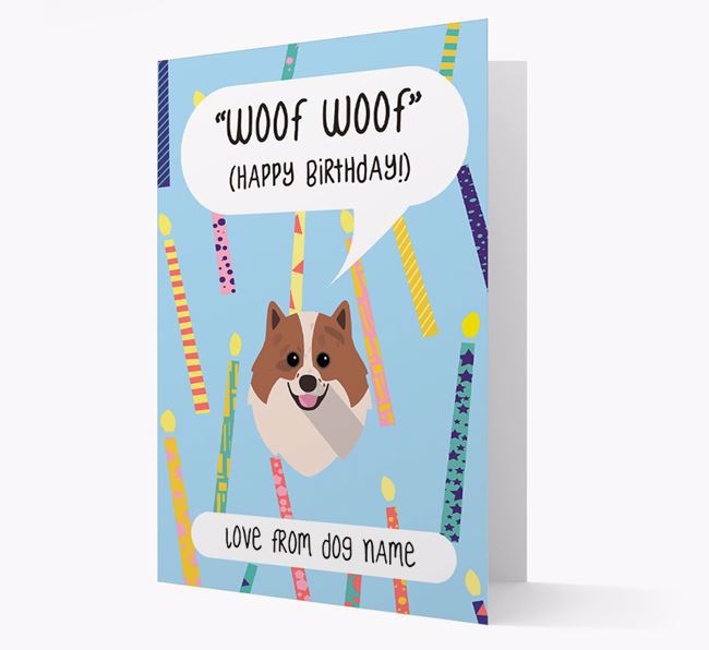 Personalised 'Woof Woof' Birthday Card with Pomeranian Icon